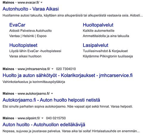 Maksullisia hakutuloksia Googlessa