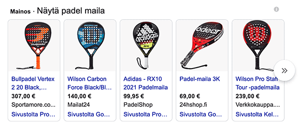 Google Shopping Ads mainokset hakutuloksissa